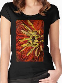Fanciful, Cheerful Floral Mosaic Women's Fitted Scoop T-Shirt