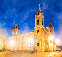 Night Falls Over Granada Cathedral - Nicaragua by Mark Tisdale