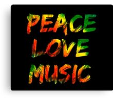 Peace Love Music Canvas Print