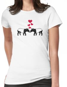 Tapir red hearts love Womens Fitted T-Shirt