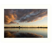 Boats and Clouds Summer Sunset Art Print