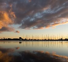 Boats and Clouds Summer Sunset by Georgia Mizuleva