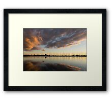 Boats and Clouds Summer Sunset Framed Print
