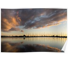 Boats and Clouds Summer Sunset Poster