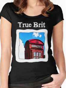 True Brit - Red British Phone Box T-Shirt - For Dark Colors Women's Fitted Scoop T-Shirt