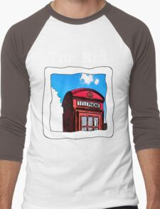 True Brit - Red British Phone Box T-Shirt - For Dark Colors Men's Baseball ¾ T-Shirt