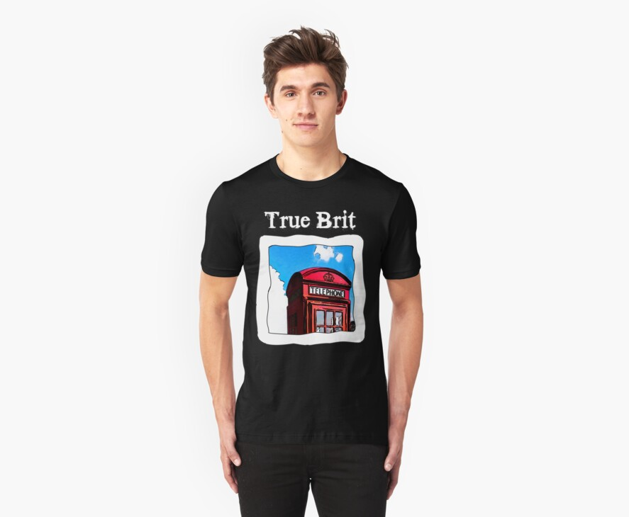 True Brit - Red British Phone Box T-Shirt - For Dark Colors by Mark Tisdale