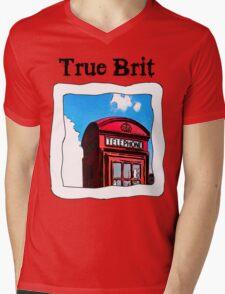 True Brit - Red British Phone Box T-Shirt Mens V-Neck T-Shirt