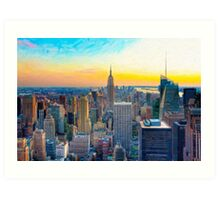 A Day Ends in New York City Art Print