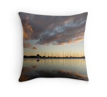 Boats and Clouds Summer Sunset Throw Pillow