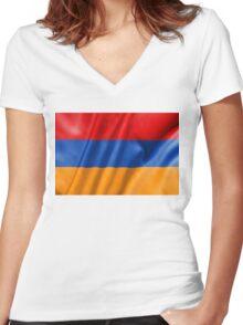 Armenia Flag Women's Fitted V-Neck T-Shirt