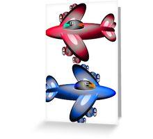 Red Plane Blue Plane Greeting Card