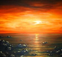 Red Atlantic Sunset by Cherie Roe Dirksen