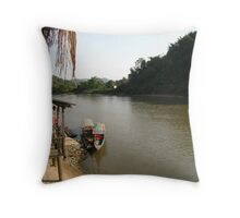Long Boats Wait on the Mae Kok River Throw Pillow