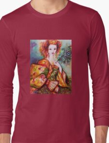 ROMANTIC WOMAN WITH SPARKLING PEACOCK FEATHER Long Sleeve T-Shirt