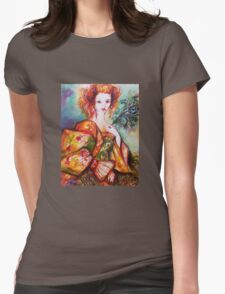 ROMANTIC WOMAN WITH SPARKLING PEACOCK FEATHER T-Shirt
