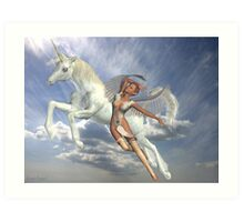 Freedom to fly .. unicorn and angel Art Print