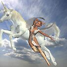 Freedom to fly .. unicorn and angel by LoneAngel