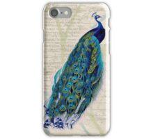 Peacock on Botanical Background iPhone Case/Skin