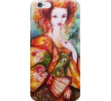 ROMANTIC WOMAN WITH SPARKLING PEACOCK FEATHER iPhone Case/Skin
