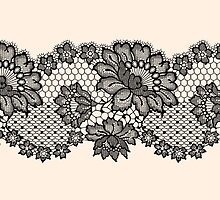 Horizontal black lace ribbon. by Laces