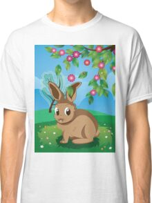 Brown Rabbit on Lawn Classic T-Shirt