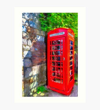 Avebury Village - Red British Phone Box Art Print