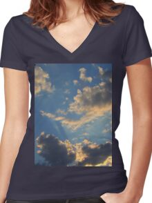 Sunset Clouds 2 Women's Fitted V-Neck T-Shirt