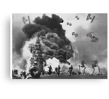 Vintage Imperial Ship Attack Canvas Print