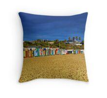 Brighton Beach Bathing Boxes Throw Pillow