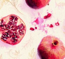 Painted Pomegranates with Gold Leaf Pattern Sticker