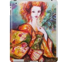 ROMANTIC WOMAN WITH SPARKLING PEACOCK FEATHER iPad Case/Skin