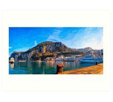 Isle of Capri Harbor Panorama Art Print