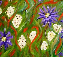 Purple abstract daisies, original art by artbykatsy