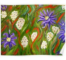 Purple abstract daisies, original art Poster