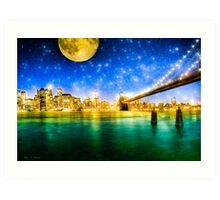 Moon Over Manhattan - New York City Fantasy Art Print