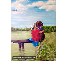 Head In the Clouds, Pole In the Water, Dog In His Heart Photographic Print