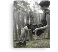 Houndstooth Knit Bubble Dress Canvas Print