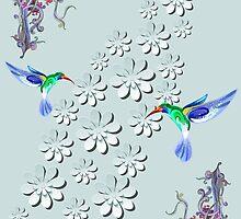 Hummingbird Heaven Portrait Wall Art by Gotcha29