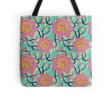 Pink and Blue Flowers Pattern Watercolor Tote Bag