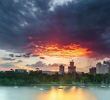 River Fire - Brisbane Qld Australia by Beth  Wode