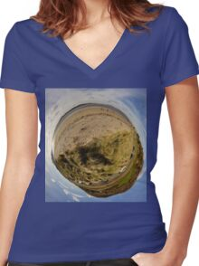 Lisfannon Beach, Fahan, County Donegal, Sky Out Women's Fitted V-Neck T-Shirt