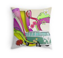 60's Van with Foulli and Gerbera in White Throw Pillow