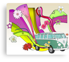 60's Van with Foulli and Gerbera in White Canvas Print