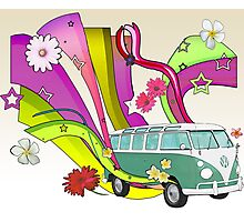 60's Van with Foulli and Gerbera in White Photographic Print