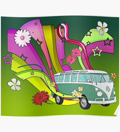 60's Van with Foulli and Gerbera Poster