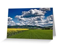 Red Train Racing Though the Landscape Greeting Card