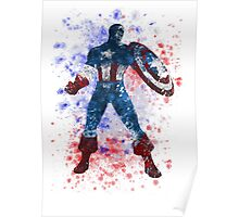 Captain America Splatter Graphic Poster