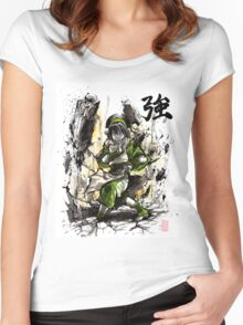 Toph from Avatar with sumi and watercolor Women's Fitted Scoop T-Shirt
