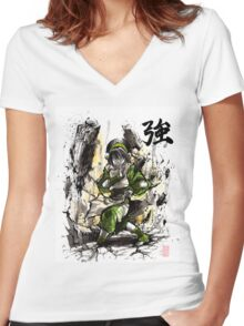 Toph from Avatar with sumi and watercolor Women's Fitted V-Neck T-Shirt